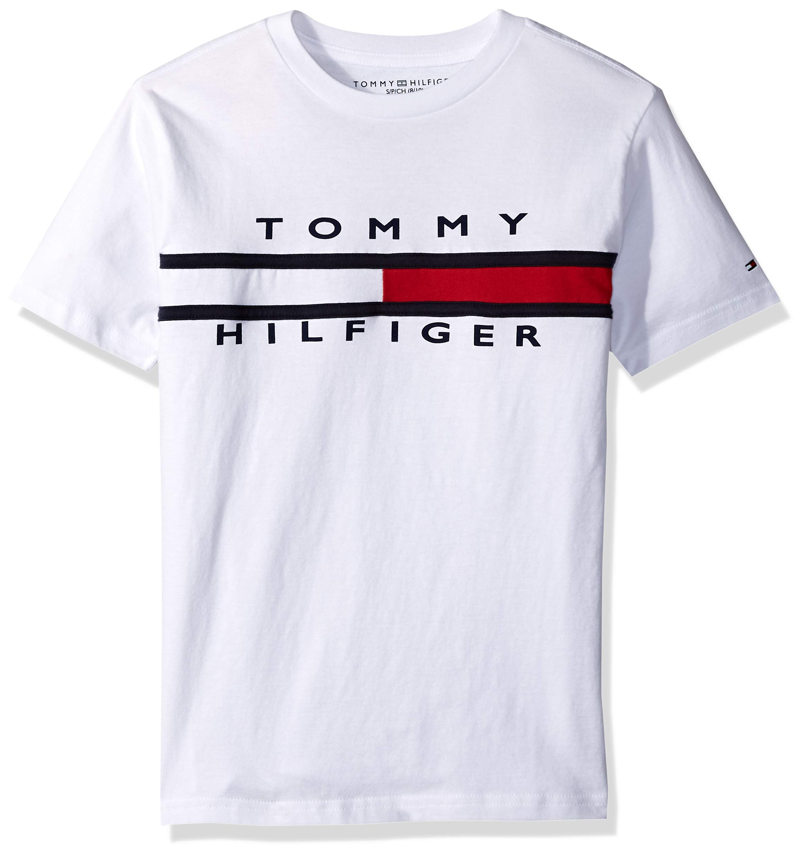 Tommy Hilfiger Big Boy's Flag T-Shirt Shirt, White, Medium (12/14)