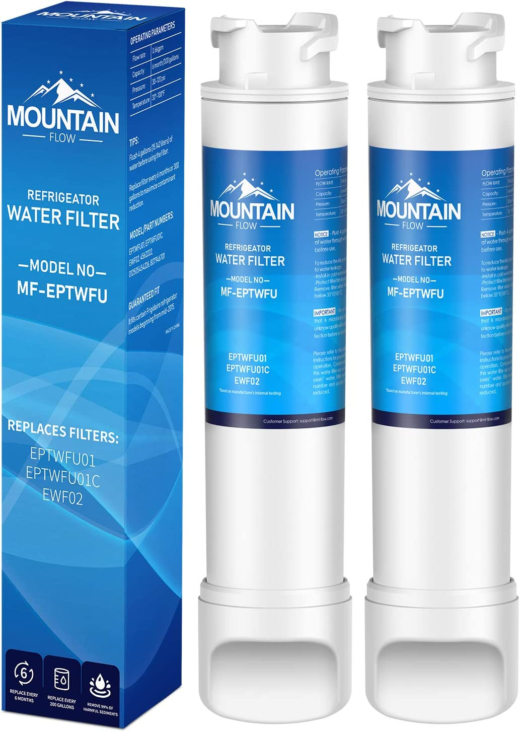 Mountain Flows EPТWFU01 Compatible EPТWFU01C, Puresource Ultra II, Puresource Ultra 2 Refrigerator Water Filter and Ice Filter,water filter-2pack