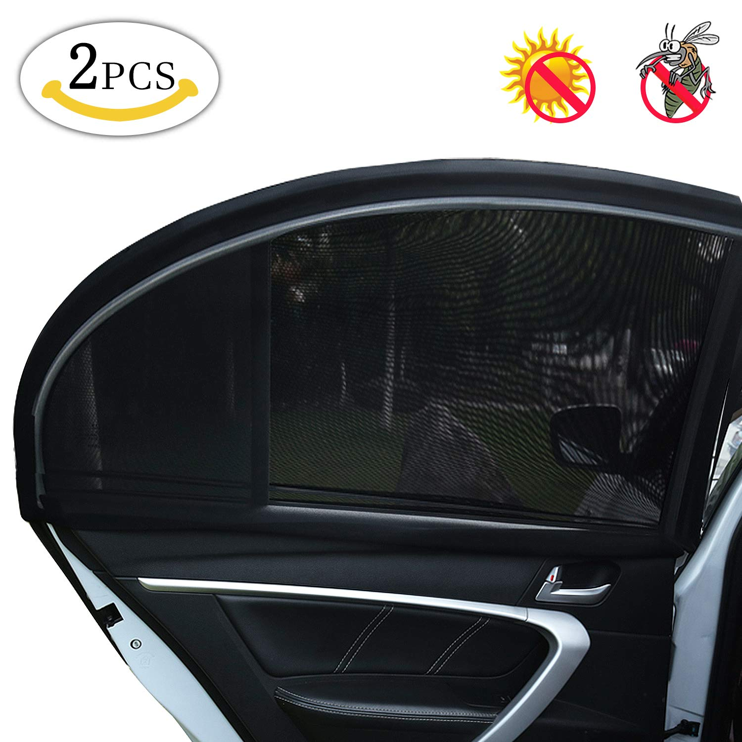 MMTX 2 Pack Car Window Baby Sun Shade UV Protect for Baby/Pet/Kids Anti-Mosquito Protect (Black 44.48