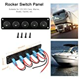5 Gang 3-Pin Rocker Switch Panel,20A with 5