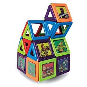 Magformers Teenage Mutant Ninja Turtles 60 Pieces Set, Green and Purple, Educational Magnetic Geometric Shapes Tiles Building STEM Toy Set Ages 3+