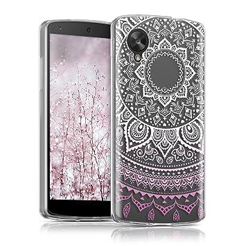 kwmobile Funda para LG Google Nexus 5 - Carcasa de [TPU] para móvil y diseño de Sol hindú en [Rosa Claro/Blanco/Transparente]
