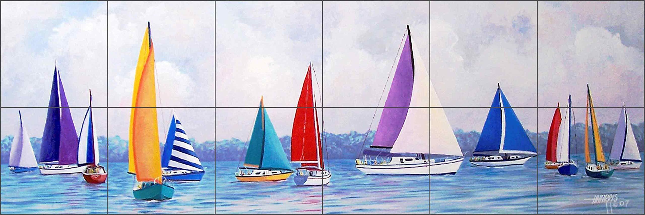 Sailboat Fiesta by Hugh Harris - Nautical Sailboats Ceramic Tile Mural 8.5'' x 25.5'' Kitchen Shower Backsplash