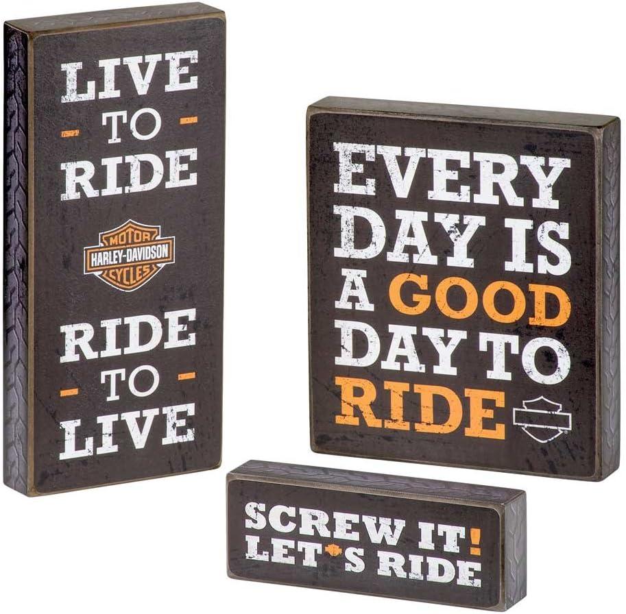 HARLEY-DAVIDSON Wooden Harley Motto Pub Signs, Set of Three, Black HDL-15316