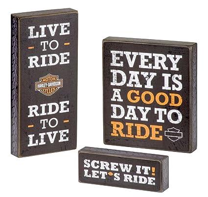 Amazon HarleyDavidson Wooden Harley Motto Pub Signs Set Of Cool Harley Davidson Signs Decor