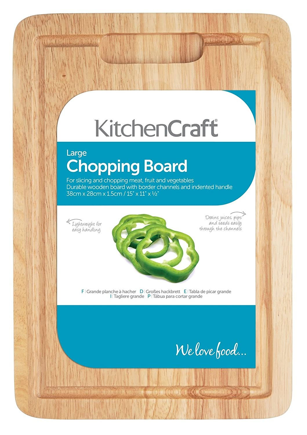 KitchenCraft Large Rectangular Wooden Chopping Board 38 x 28 x 1.5cm ...