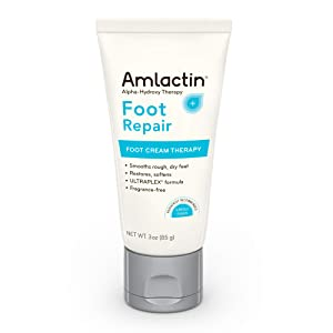 AmLactin Foot Repair Foot Cream Therapy, 3 Ounce Tube, AHA Cream