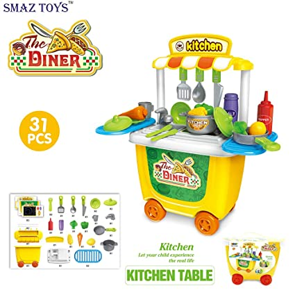 187f79b72f305 SMAZ TOYS Kids Kitchen Playsets Toddler Pretend Play Kitchen Toys Cooking  Sets Chef Toys Workbench for