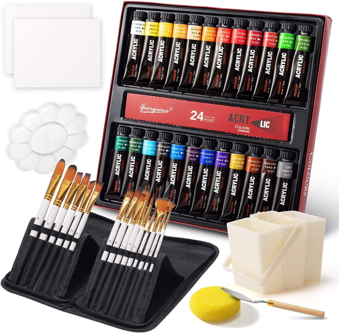 Acrylic Paint Set, 24 Colors (12ml/Tube) Portable Paint Kit with Premium Paint Brushes, Mixing Knife, Paint Pallet and Sponge, Painting Travel Set Arts Crafts Supplies for Kids Adults