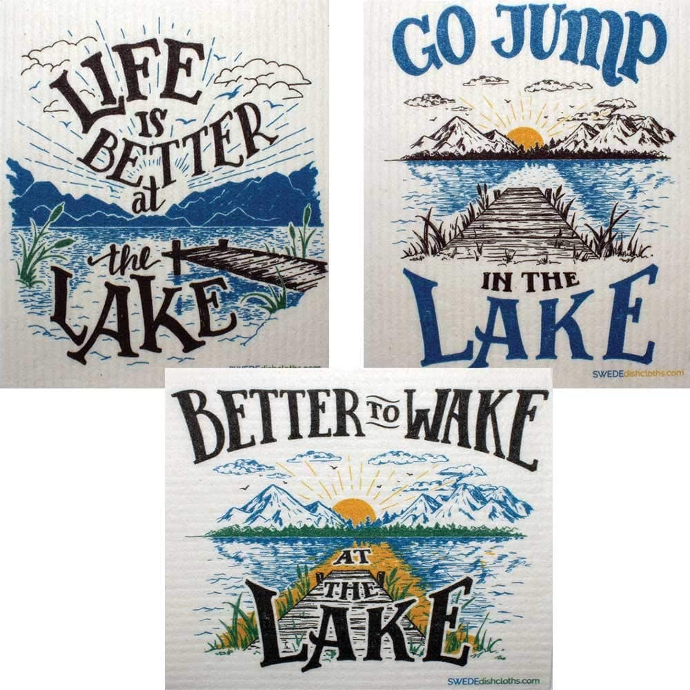 Swedish Dishcloths Mixed Lake Life Set of 3 Cloths (One of Each Design) | ECO Friendly Reusable Absorbent Cleaning Cloth