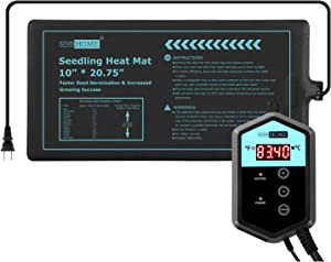 VIVOHOME 10 Inch x 20.75 Inch Waterproof Seedling Heat Mat and 40-108°F Digital Thermostat Controller Combo Set MET Certified