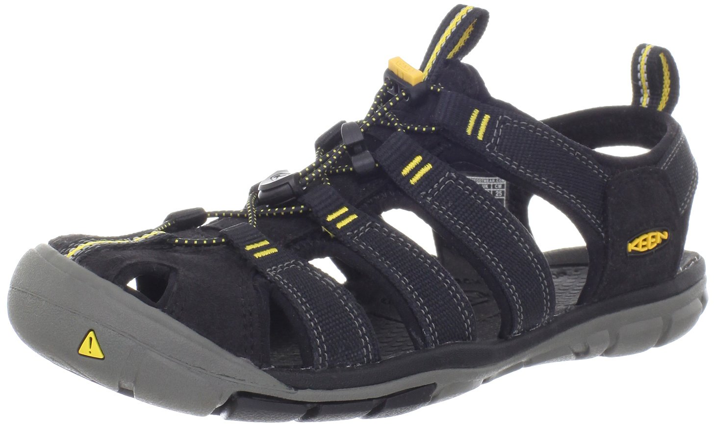 KEEN Women's Clearwater CNX Sandal,Black/Yellow,5.5 M US