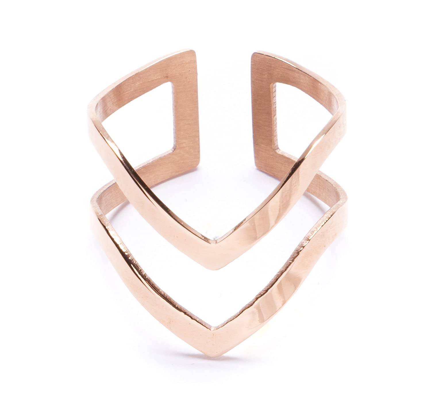 Happiness Boutique Women Double Chevron Band Adjustable Ring in Rose Gold wkR7u