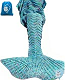 "LAGHCAT Mermaid Tail Blanket Knit Crochet Mermaid Blanket for Adult, Oversized Sleeping Blanket, Wave Pattern (75""x35.5"",Light Blue)"