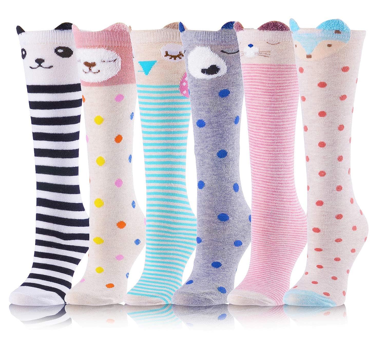 Girls Knee High Socks Cute Animal Pattern Novelty Funny Socks For Kids 6 Pairs 3-12Y)