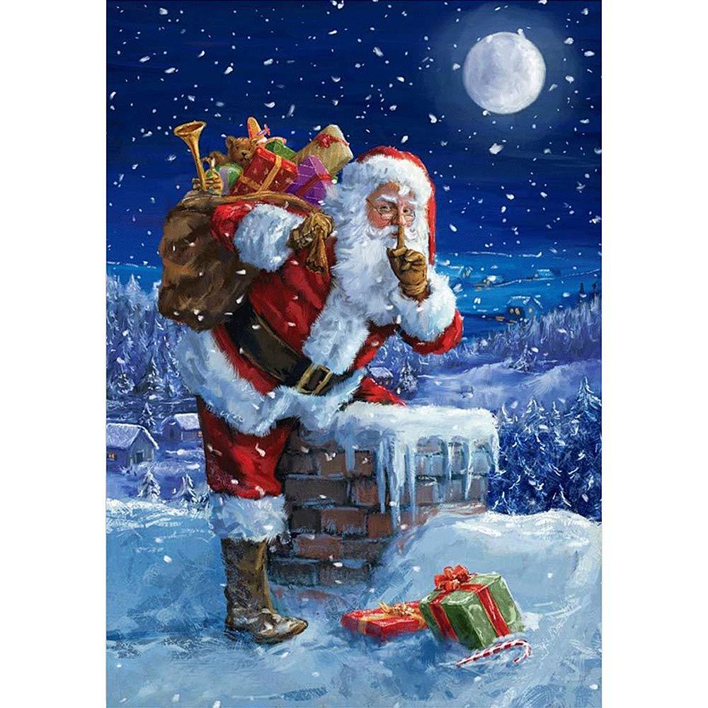 TONVER 5D Diamond Painting Kit, Mosaic Diamond Drawing Santa Claus/Snowman Landscape Arts Craft Embroidery Cross Stitch Kit Home Wall Decor for Women Girls Kids size 40x30cm