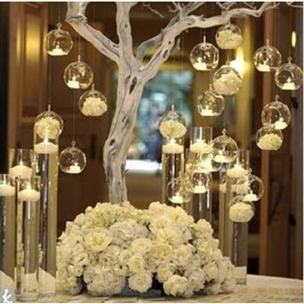 LANLONG 80MM Hanging Tealight Holder Glass Globes Terrarium Wedding Candle Holder Candlestick (18 Pcs/set) (18pcs)