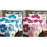 SS Sales Poly Cotton Flower Prints AC Blanket for Single Bed, Blue and Pink (Set of 2)