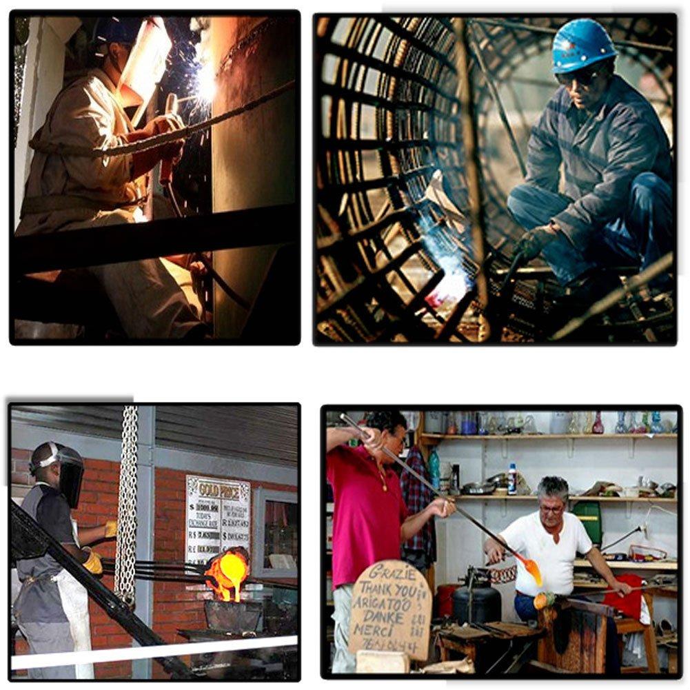 Guantes de soldadura Cuero de vaca Soldador de resistencia a altas temperaturas Mecánico Guantes Soldadura Aislamiento Prevención de incendios Empleos ...