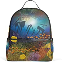 MASSIKOA Underwater Wallpaper with Ship and Fishes Laptop Backpack Casual Shoulder Daypack for Student School Bag Handbag - Lightweight