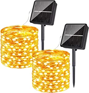 Solar String Lights Outdoor Waterproof, HueLiv 2-Pack Each 79FT 240PCS LED Fairy String Lights Solar Powered Warm White with 8 Lighting Modes for Patio Bistro Garden Party Wedding