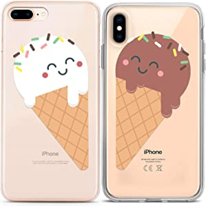 Lex Altern Couple Cases Compatible with iPhone 12 Pro Max 11 Mini SE Xr Xs 8 Plus 7 6 Clear Sweet Food Best Friend Chocolate Ice-Cream Lightweight Cute Protective TPU Anniversary Cover Soulmate Cones