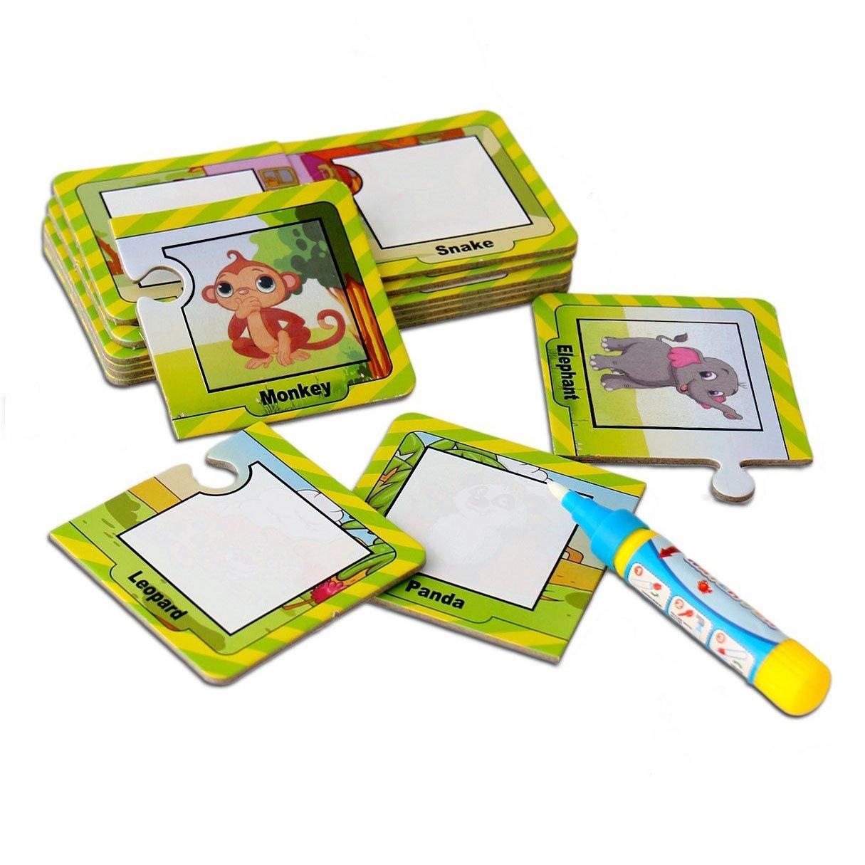 OFKPO 16 Immagini Dipingere Doodle Drawing Supplies Penna di Acqua Magica, Giocattoli di Pittura per Bambini Educational Puzzles (Animali)