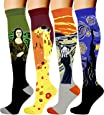 4 Pairs Compression Socks for Men and Women 20-30 mmHg Compression Stockings (Famous Painting, Large/X-Large)
