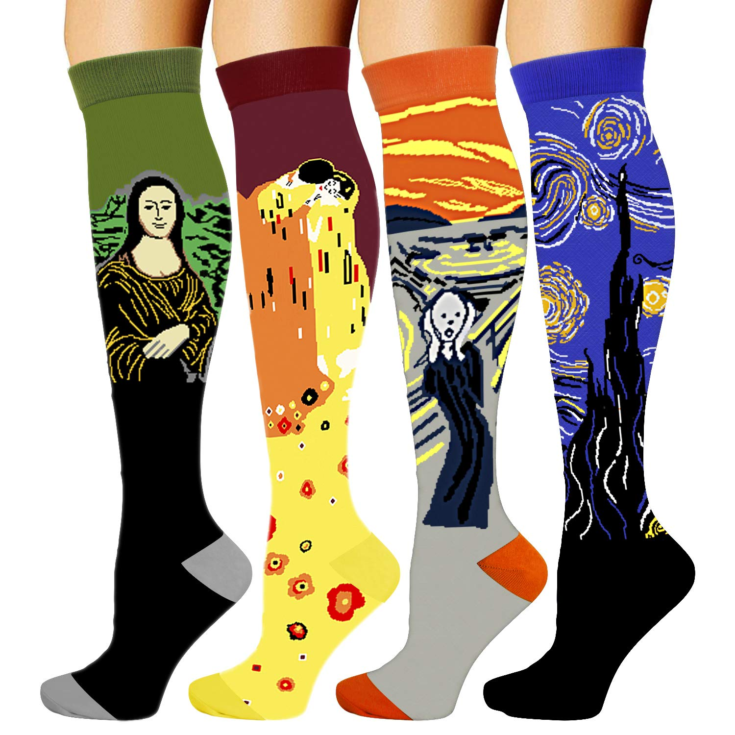 4 Pairs Compression Socks for Women Men 20-30 mmHg is Best Graduated Athletic Running Flight Travel Nurses (Famous Painting, Large/X-Large)
