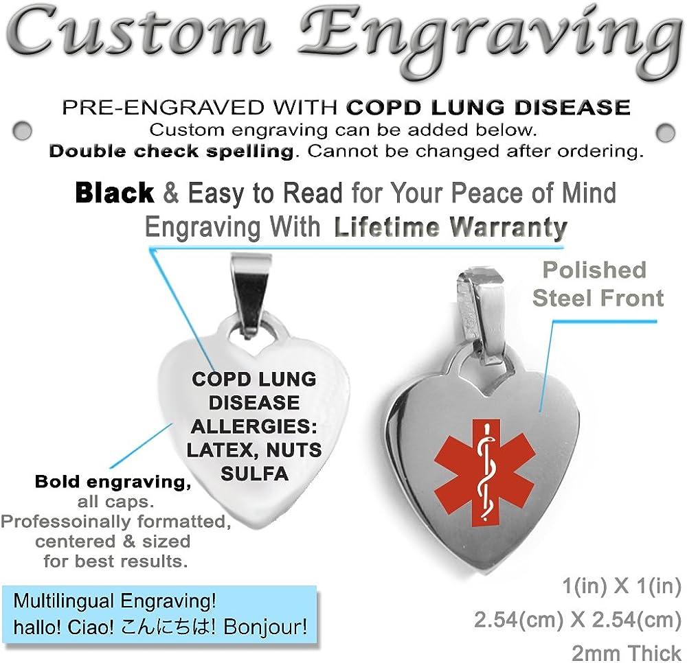 Black//White Millefiori Glass Pattern Pre-Engraved /& Customized Emphysema Medical Alert Bracelet Red My Identity Doctor