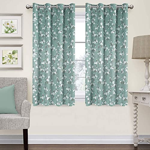 H.VERSAILTEX Traditional Sakura Floral Pattern Room Darkening Thermal Insulated Blackout Curtains for Bedroom,Grommet Top,Set of 2 Panels, W52 x L63 inch