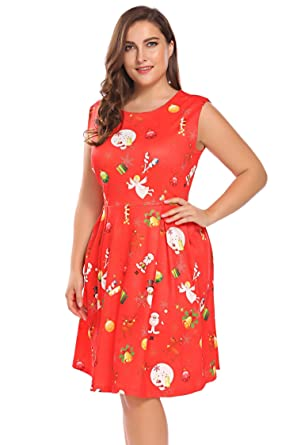 Involand Womens Plus Size Sleeveless Christmas Santa Claus Print Party  Cocktail Swing Dress e2daeabf6f