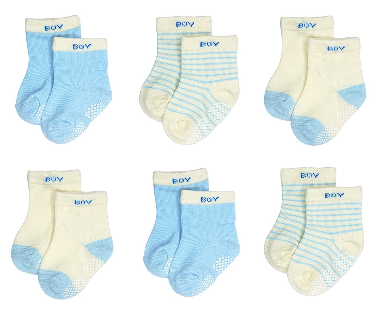 Boy Girl Liwely 6 Pairs Baby Socks Anti Slip Skid Cotton Socks with Grips for 3-12M
