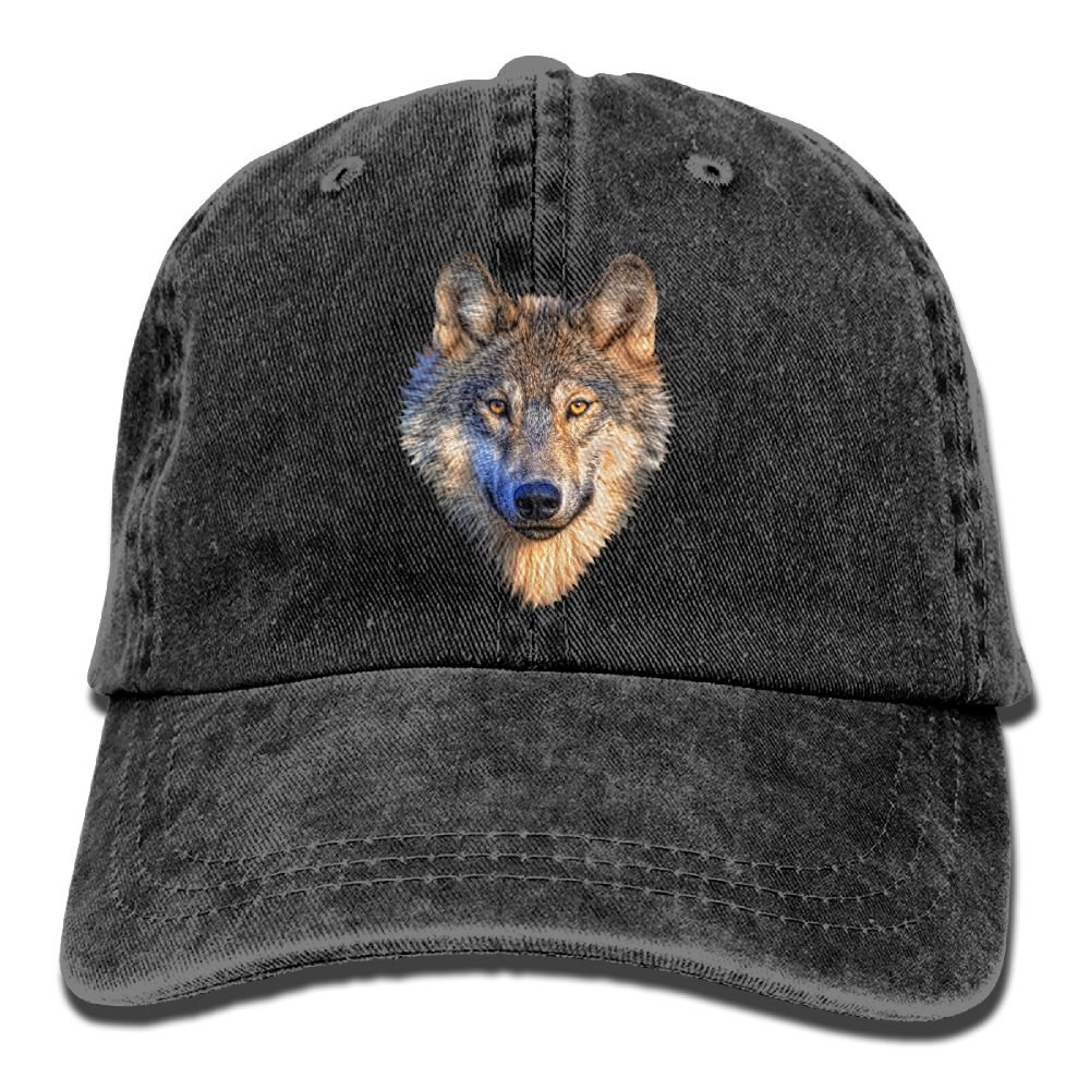 Cool Wolf Head Denim Hat Adjustable Men's Plain Baseball Cap
