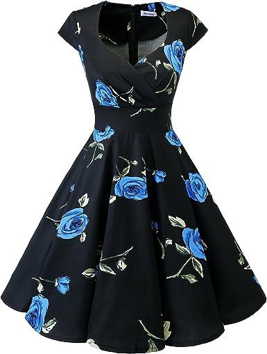 TALLA S. Bbonlinedress Vestido Corto Mujer Retro Años 50 Vintage Escote Black Blue Brose S