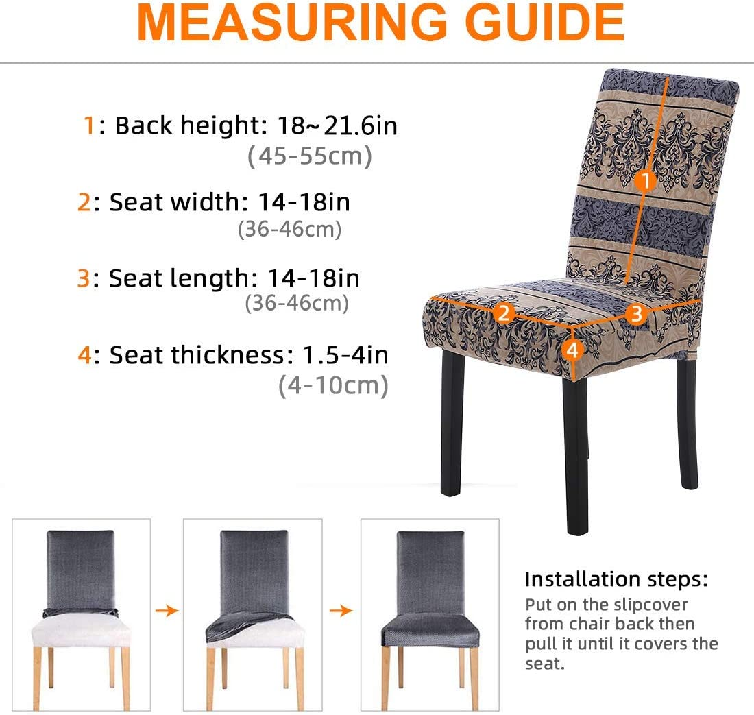 6 Pack Dining Chair Slipcovers for Kitchen Hotel Table Banquet Removable Washable Spandex Splashing-Ink Pattern 6 Per Set, Royal Blue Stretch Dining Chair Covers