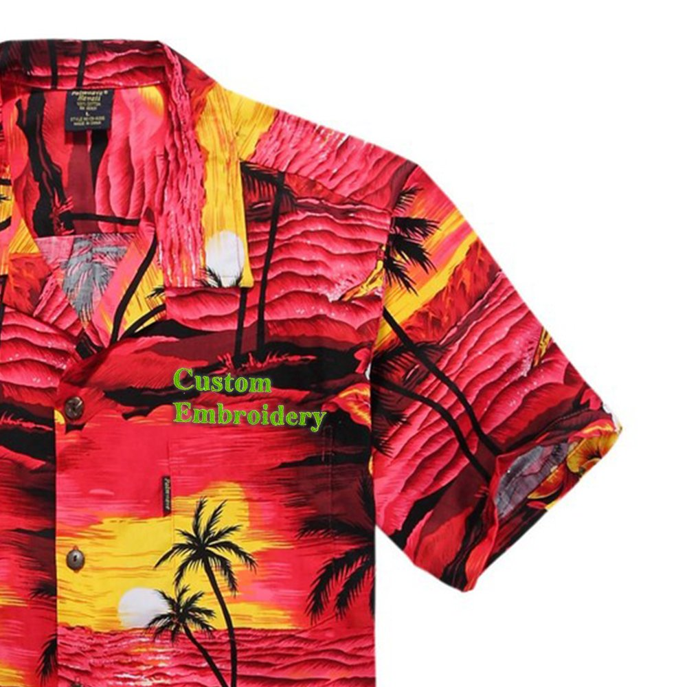 Men\'s Hawaiian Shirt Aloha Shirt Palm Wave 045101-2XL-$P