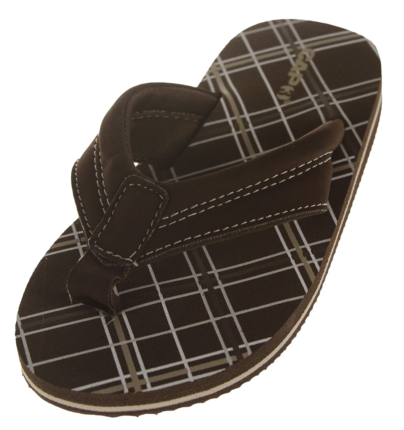 Boys Capelli Printed Plaid Flip Slippers