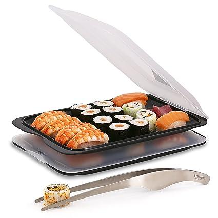 PracticFood Juego 2 Bandejas Porta Alimentos y Pinzas Profesionales para Sushi/Sashimi en Acero Inoxidable