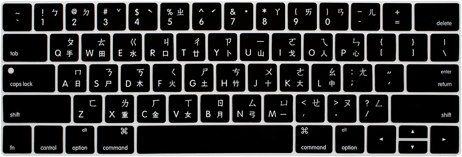 WYGCH Taiwanese Chinese Waterproof Ultrathin Keyboard Cover Compatible MacBook Pro 13 15 inch 2019 2018 2017&2016 with Touch Bar&Touch ID Model:A2159 A1989 A1706/A1990 A1707,USA Version