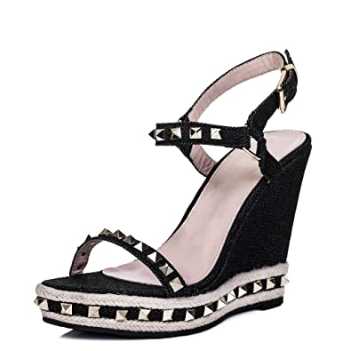 5bc6c8e3cc9 Spylovebuy Platform Studded Wedge Heel Barely There Espadrille Denim  Sandals Shoes Black Sz 6