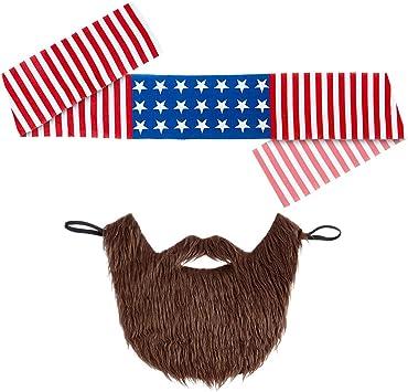 Banda del Pelo América y Barba Set Disfraz rockero Barba tupida ...
