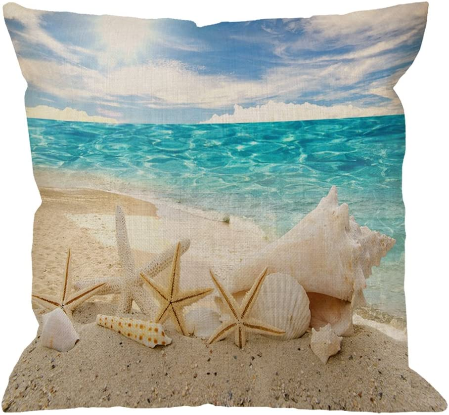 HGOD DESIGNS Beach Starfish Pillow Cover,Cotton Linen Starfish Shell Square Cushion Cover Standard Pillowcase for Men Women Home Decorative Sofa Armchair Bedroom Livingroom 18X18 inch