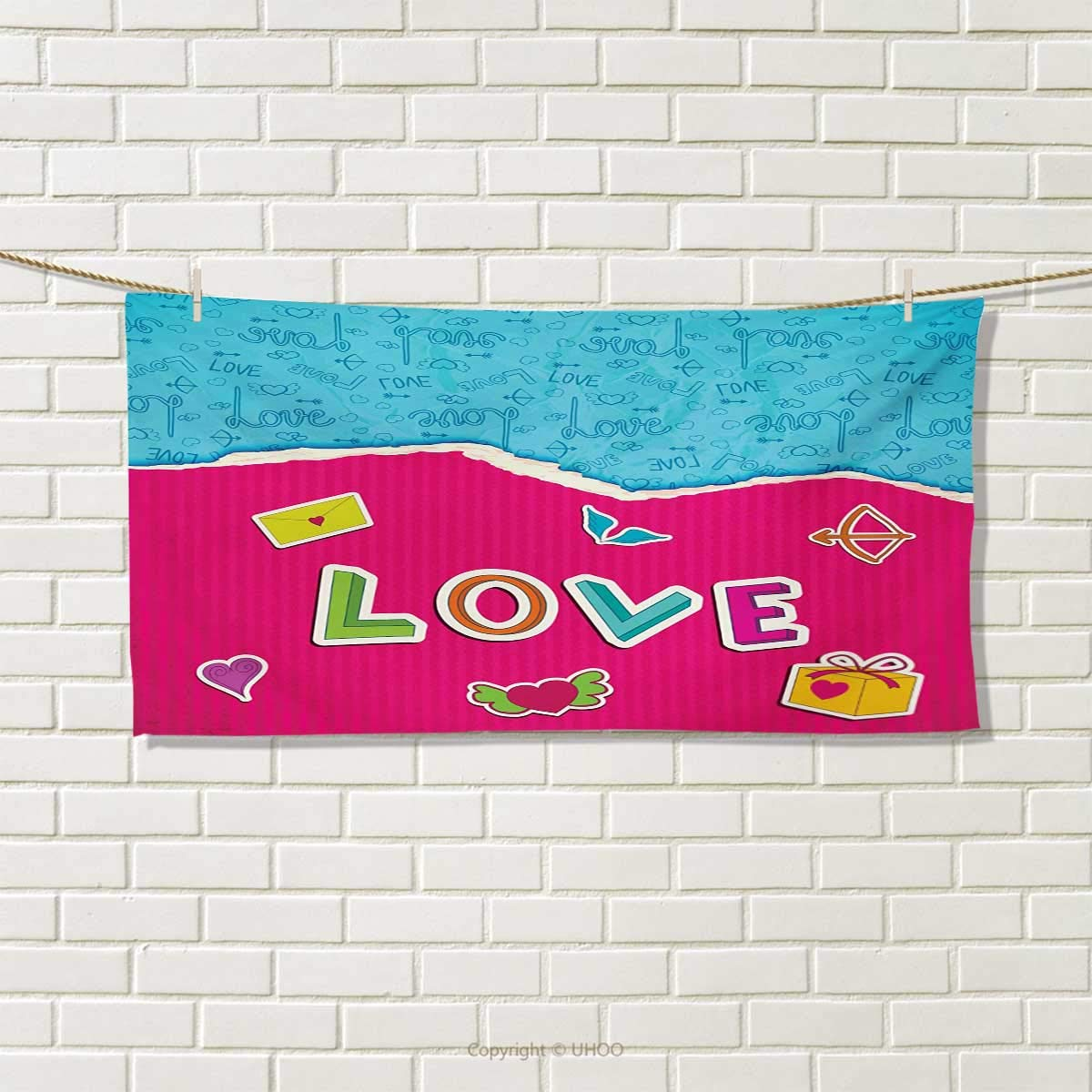 Chaneyhouse Love,Travel Towel,Valentine`s Day Themed Composition with Torn Paper Effect Romantic Cartoon Elements,Quick-Dry Towels,Multicolor Size: W 14'' x L 27.5''