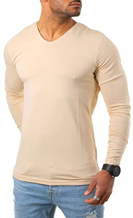 Young   Rich Herren Longsleeve tiefer V-Ausschnitt langarm Shirt einfarbig  slimfit mit Stretchanteilen Uni c142ae3933