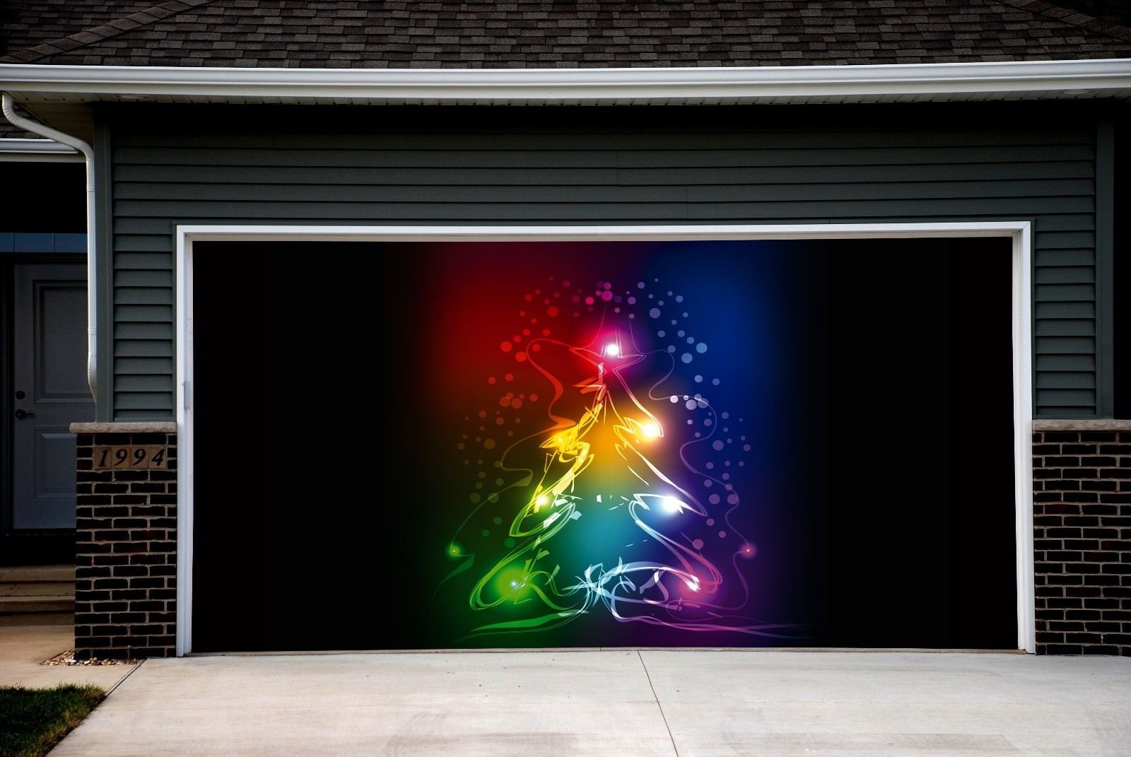 Full Color Christmas Tree Garage Door Covers Banners Outdoor Holiday Merry Christmas Decorations Billboard for 2 Car Garage Door House Art Murals size 82x188 inches DAV53