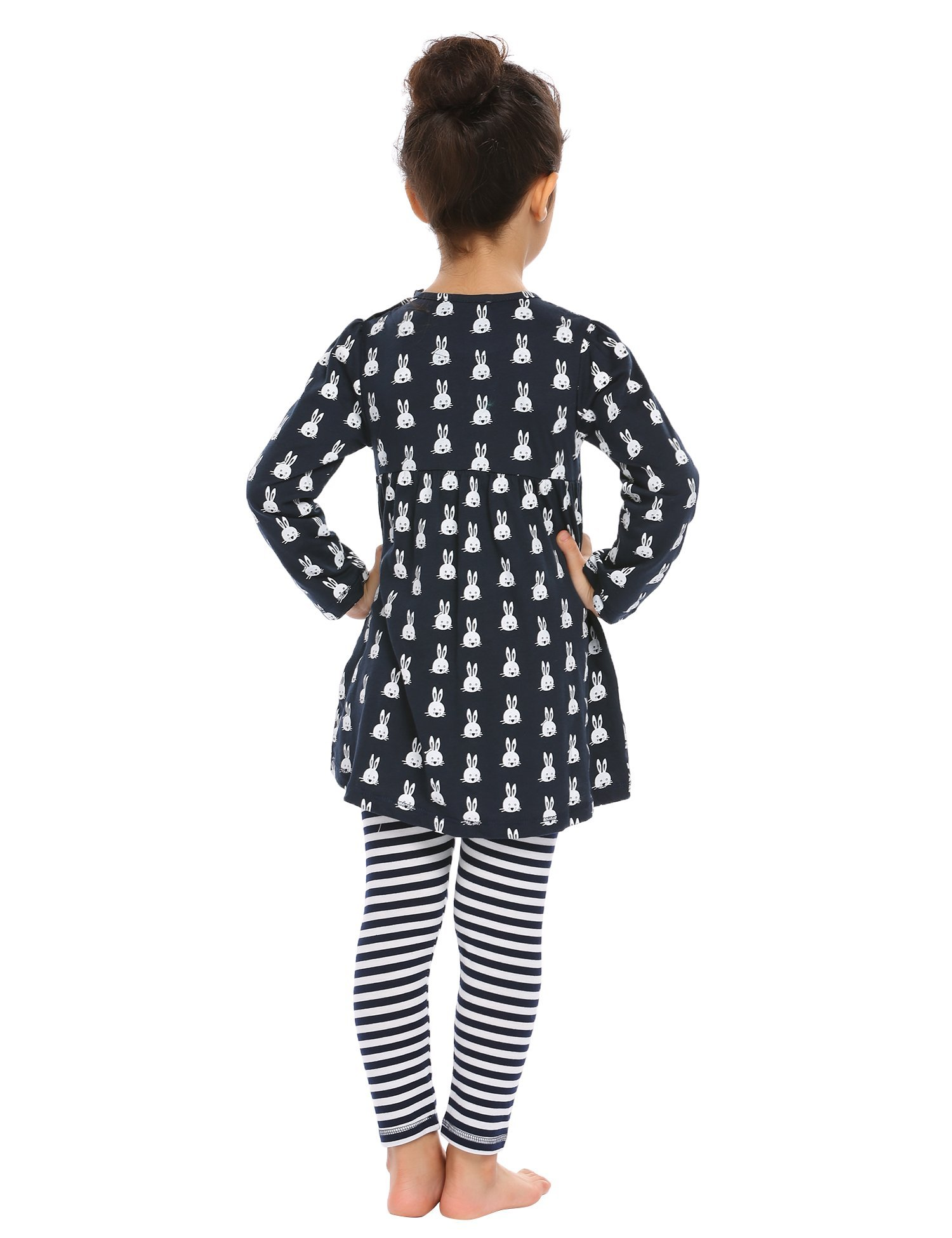 Arshiner Little Girls Long Sleeve Cute Rabbit Print with Pockets Cotton Outfit 12 pcs Pants Sets Top+Legging,Navy Blue,130(7-8years old) by Arshiner (Image #6)