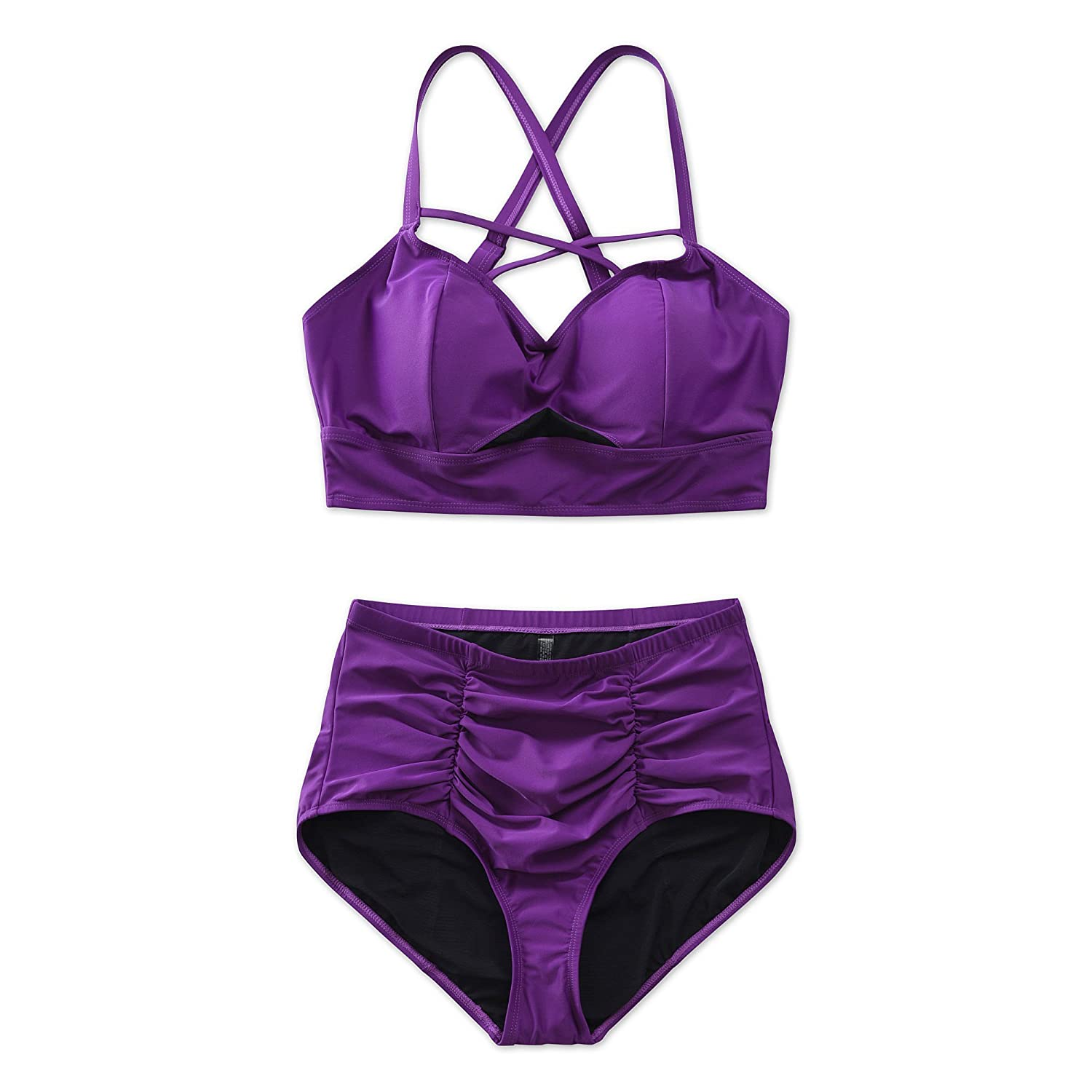 de6a8c0f7c Two-piece V-neck top with lattice detail, high waist cut leg bikini bottom  swimsuit in unique elegant violet purple style you appealing to the eye  whenever ...