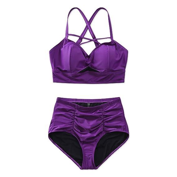 246df84d878a9 COLOCEAN Women's Plus Size Swimwear Strappy High Waist Purple Bikini Two  Piece Swimsuit Sexy Tankini (