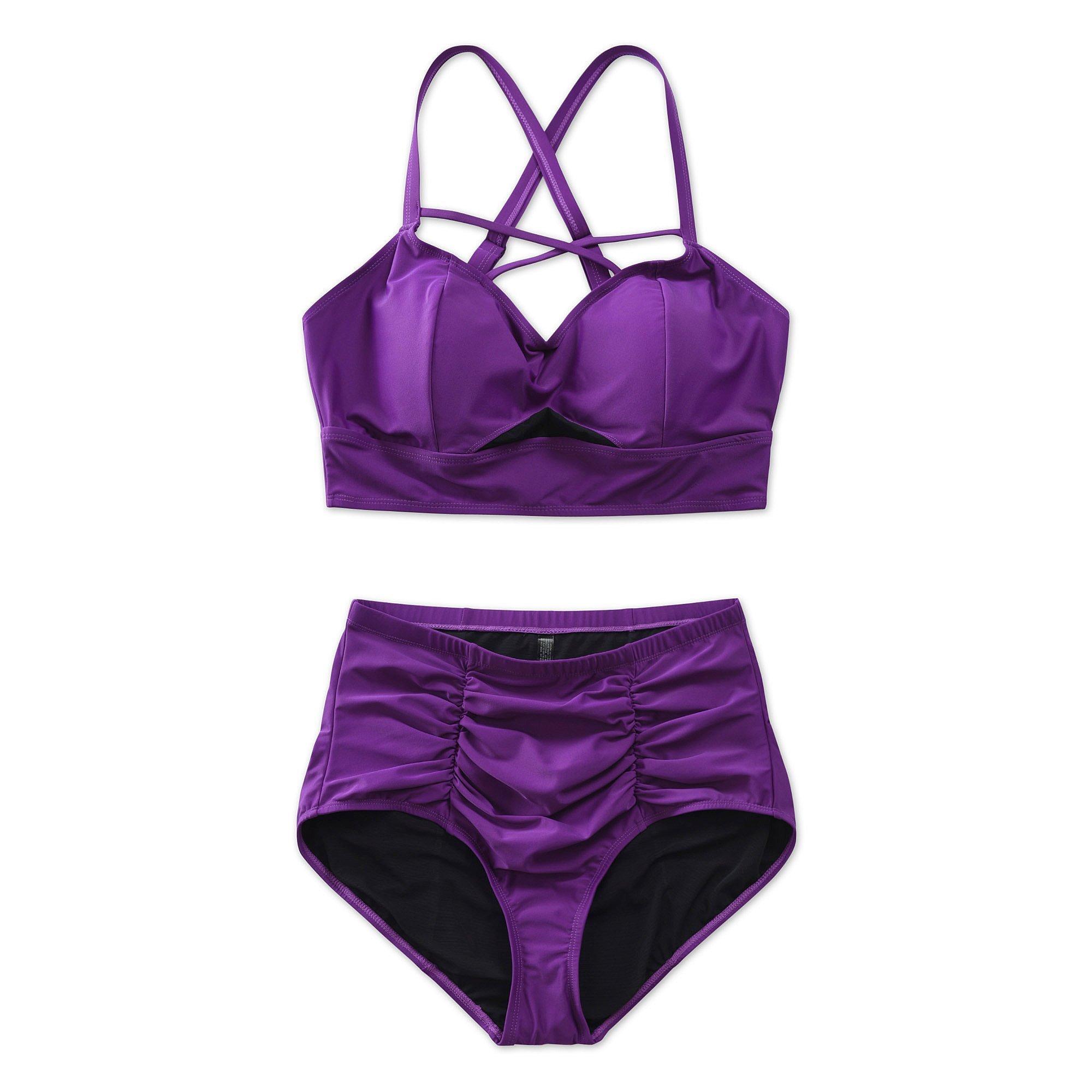COLOCEAN Women Plus Size Swimwear Strappy High Waisted Two Piece Swimsuit Sexy Bikini Purple (3XL(US 22-24))